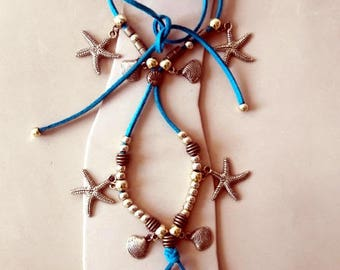 Boho Barefoot wrap, Little girls gypsy Barefoot sandals  turquoise with golden beads, starfish and shells charms,