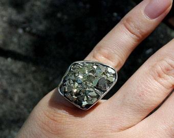 Pyrite druzy sterling silver boho ring (size 6)