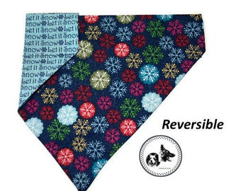 Christmas Dog Bandana - Colored Snowflakes / Let it Snow - Reversible & Slide On