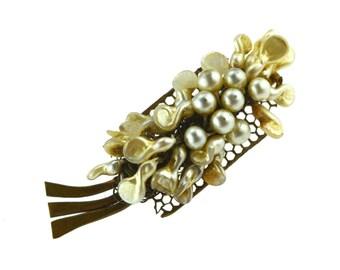 Antique Pearl Brooch, Bohemian Vintage brooch, Filigree gold coloured Metal back, Czech Costume Jewellery