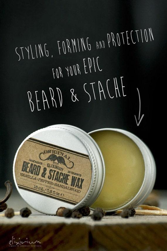 BEARD & STACHE WΑΧ- Vanilla Pepper Sandalwood~facial hair styling wax~organic mustache wax~beard care~mens care~beard wax~gift for him~wax