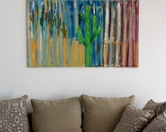 Desert Cactus Acrylic Painting