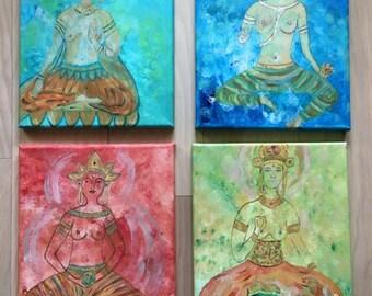 Divine Goddesses Set of 4 Paintings