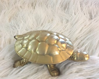 Vintage brass turtle box with lid