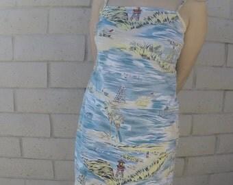 Authentic Blue & Yellow Hawaiian Dress