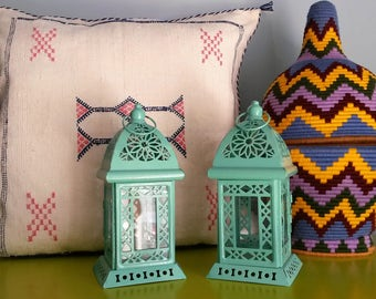 Set of 2 Moroccan lamps in metal and glass - handmade