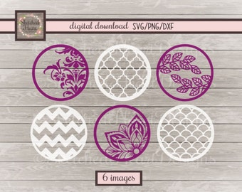 Wine glass bottom SVG, png dxf, Digital cutting file, Pattern circle, Cutting file, Scales, Quatrefoil, Chevron, Flower, Graphic, Clipart