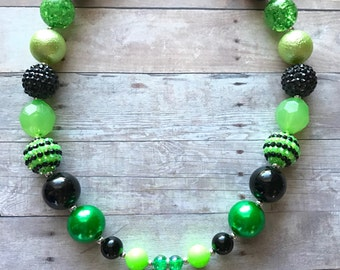 Frog - Green Frog - Froggy - Frog Necklace - Frog Theme - Green - Chunky Bead Necklace