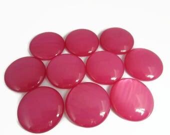 25mm Pink Cabochons, Large Round Cabochon, Flat Back Resin, Jewel, Gem, Set of 10