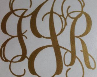 Vine Monogram Sticker Interlocking Monogram Decal Personalized vinyl initials.