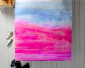 Hot Pink Duvet, Pink Duvet Cover, Queen Duvet, King Duvet, Twin Duvet, Watercolor Bedding, Pink Bedroom Decor, Pink and Purple Duvet