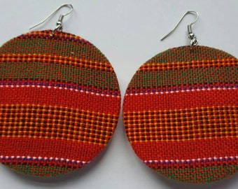 Multicolored maasai fabric earrings