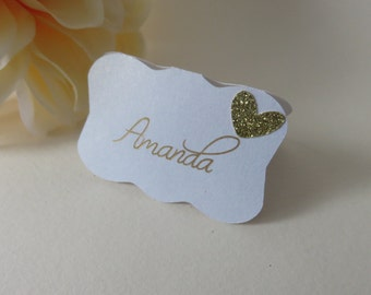 Gold Place Cards, Gold Glitter Place Cards, Personalized Place Cards, Wedding Place Cards, Bridal Shower Place Cards, Custom Place Cards