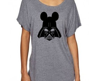 Disney Star Wars Shirt - Darth Vader with Mickey Mouse Ears Cute Women's Loose Fitting Dolman T Shirt perfect for Disneyland or Disney World