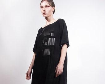 Black Jersey Dress with Black Print