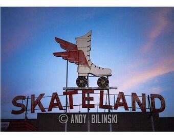 Memphis Vintage Sign Photography, Skate Land Photograph, Rollerskate Rink, Memphis wall Decor Sign all art