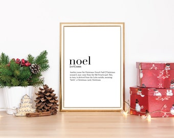 Noel Definition Print, Christmas Decoration, Holiday Decoration, Black and White, A4 Print, 8x10 Print, 11x14 Print, Defintion Poster