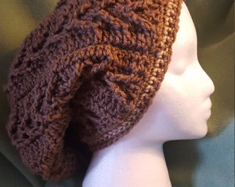 Open Crochet Slouchy Hat for Ponytails