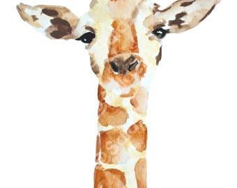 Giraffe Watercolor Print, Wall Art Decor, Art Print, Animal Art, Giraffe Art