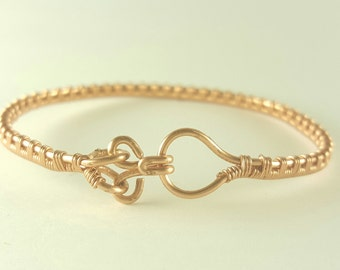 Copper wire woven bangle bracelet
