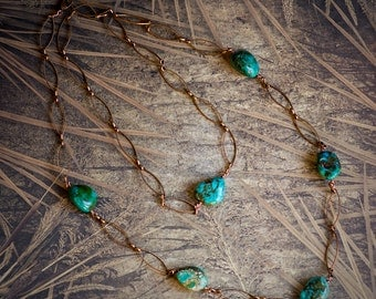 Turquoise and Copper Chain Wrap