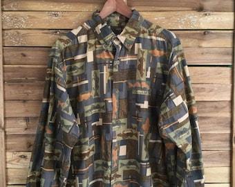 Camisa Estampada Woolrich 80's Vintage Print