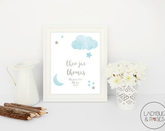 Personalised Childs Nursery Print , Baby Boy Nursery Wall Decor, Framed Wall Art for Childs Nursery, Childrens Nursery Wall Art, Baby Boy