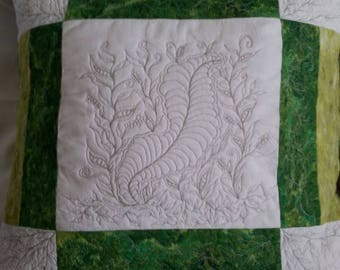 Handcrafted quilted throw pillow cover, Home Decor
