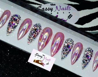 Bling/Pink holographic Nails: Fake Nails| False Nails| Holographic Nails| Press On Nails| Custom Nails| Glue On Nails| Faux Nails| Holo