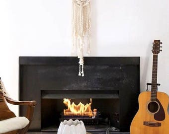"""12"""" wide White Rope and Copper, Macrame Wall Hanging"""