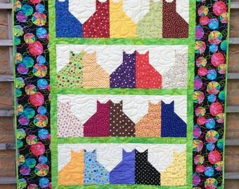 Handmade Cat Quilt. Patchwork Quilt.Throw.Home Decor. Modern Quilt. Rainbow Quilt.Boy Girl Quilt Cat Quilt.