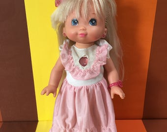 Vintage Twinkles Light Up Doll Mattel 1988 Long Blond Hair Jewellery Heart Earrings and Hair Bow Flashing Light Requires Batteries.