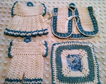 Lot of 4 Adorable Crocheted Vintage Potholders Blue and White Doll Dress Shape Bloomers Vest Square Retro Hot Pot Holders Trivets Hot Pads