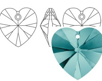 Swarovski 6228 Crystal Heart Pendant 18mm Blue Zircon 1PC 3PC