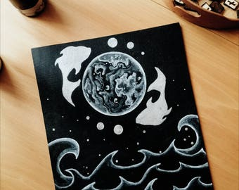 SALE DESTOCK The Moon Tarot Card Original Illustration, Original Painting, Tarot Inspired Art, Moon Phase, Pisces, Wicca, Witchcraft