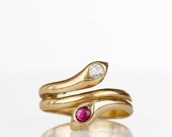 Victorian Snake Ring - Diamond Ruby 14k Gold Antique Ring, Victorian Ring, Antique Jewelry, Antique Engagement Ring, Antique Snake Ruby Ring