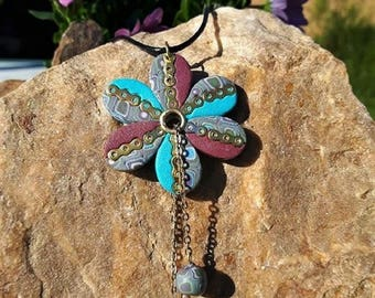 Blue and purple flower necklace made in fimo