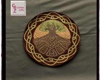 Celtic Tree of Life Circle Embroidered Sew On Patch | Renaissance | Medieval