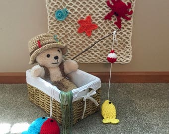 Crochet Baby Fishing Photo Prop, Fishing Outfit, Baby Gift