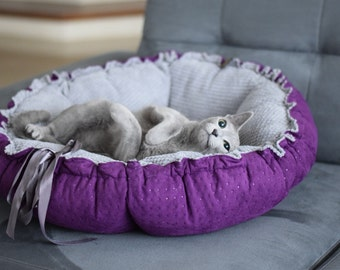 beautiful, luxury, extraordinary bed for dog, bed for cat DAISY, Hundebett und Katzenbett, Couchage pour les chien, 80cm