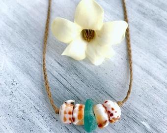 Hawaiian puka shell beach glass necklace