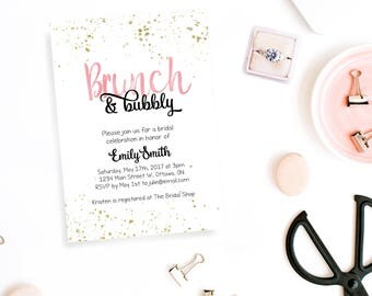 Brunch and Bubbly Bridal Shower Invitation Personalized Printable Pink & Black Invite Gold Confetti Engagement Party Bridal Party Invite