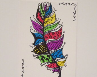 Original Zentangle Feather Drawing ACEO (Art Trading Card)