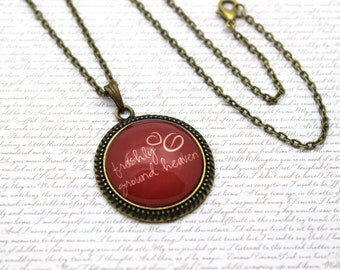 Freshly Ground Heaven, Coffee Beans, Coffee Drinking Quote, Red Necklace or Keychain, Keyring