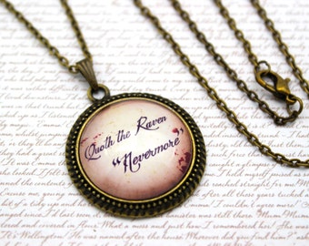 The Raven, 'Quoth the Raven Nevermore' Edgar Allan Poe, Necklace or Keychain, Keyring