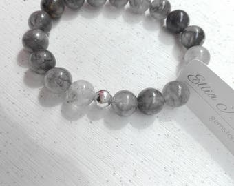 Grey Quartz Bracelet with Sterling Silver 925 Bead