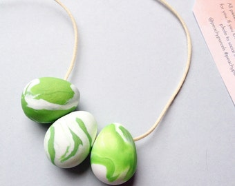 Lime Green and White necklace