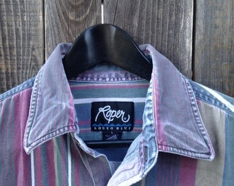 Vintage Rodeo Polo, 1990s Cowboy Shirt, Striped Cowboy Shirt, Roper Rodeo Blue Large Cowboy Shirt