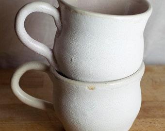 Pair of Pale Purple and White Handmade Mugs