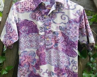 Men's Purple Vintage Psychedelic Hawaiian Shirt, Partial Button Placket